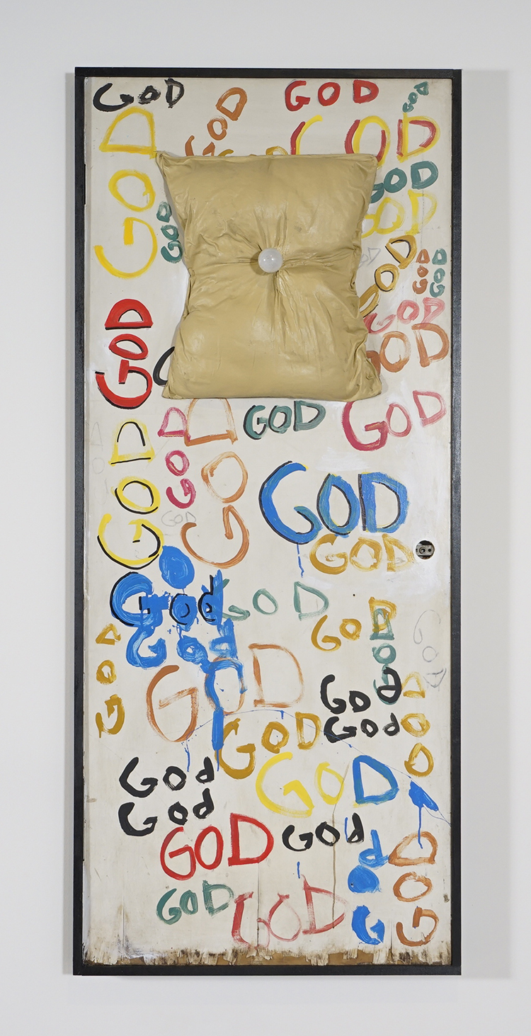 Tyree Guyton,  Lights off , 2009, door, lightbulb, paint, mixed media, 78 ½ × 33 ½ × 2 inches