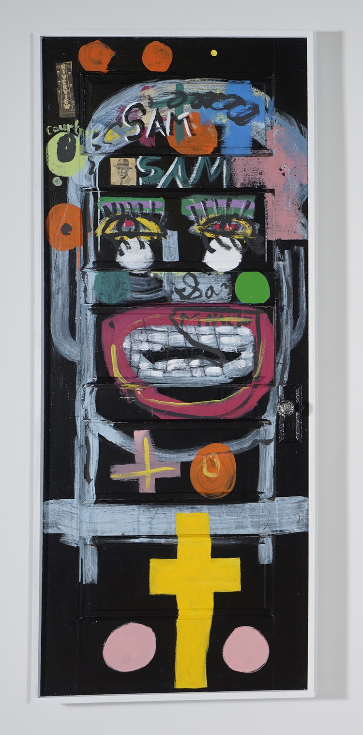 Tyree Guyton,  Here they come , 1998, wood, paint, mixed media, 81 × 33 ½ × 2 inches