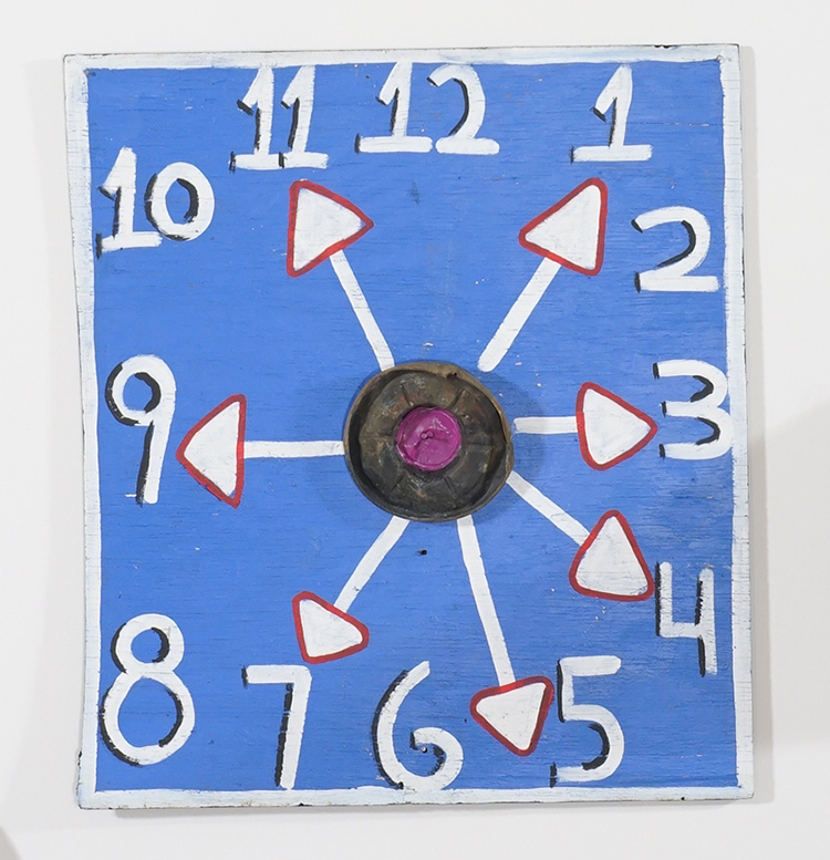 Tyree Guyton,  What time is it (clock series) , 2015, mixed media, 24 × 20 ½ × 6 inches