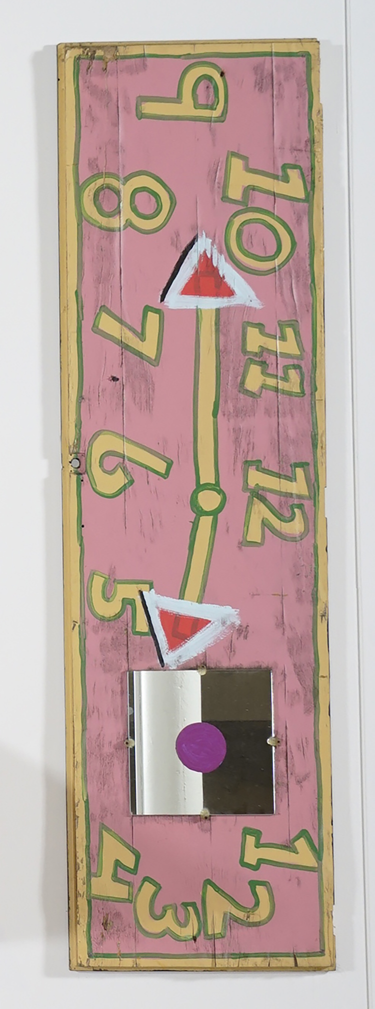Tyree Guyton,  What time is it (clock series) , 2014, mixed media, 78 × 22 × 1 inches