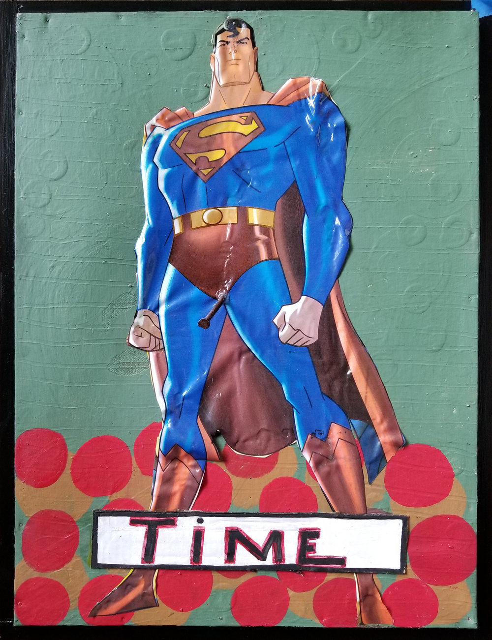 Tyree Guyton,  Man of Steel , 2010, paint on wood with plastic, 19 ½ × 25 ½ inches