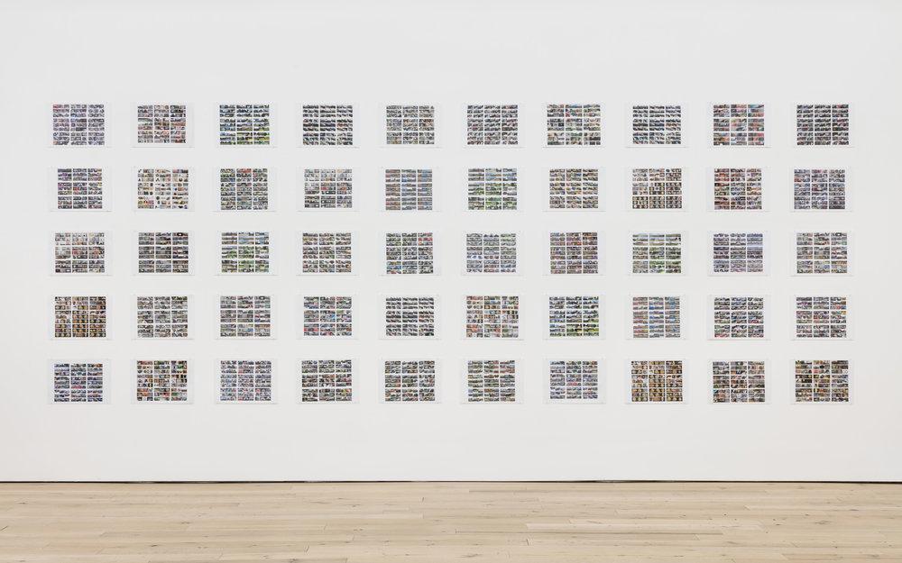 Pat O'Neill, Auction Series 1-50 , 2005-2016, 50 inkjet prints under plexiglass, each: 16 1/2 × 11 3/4 in.