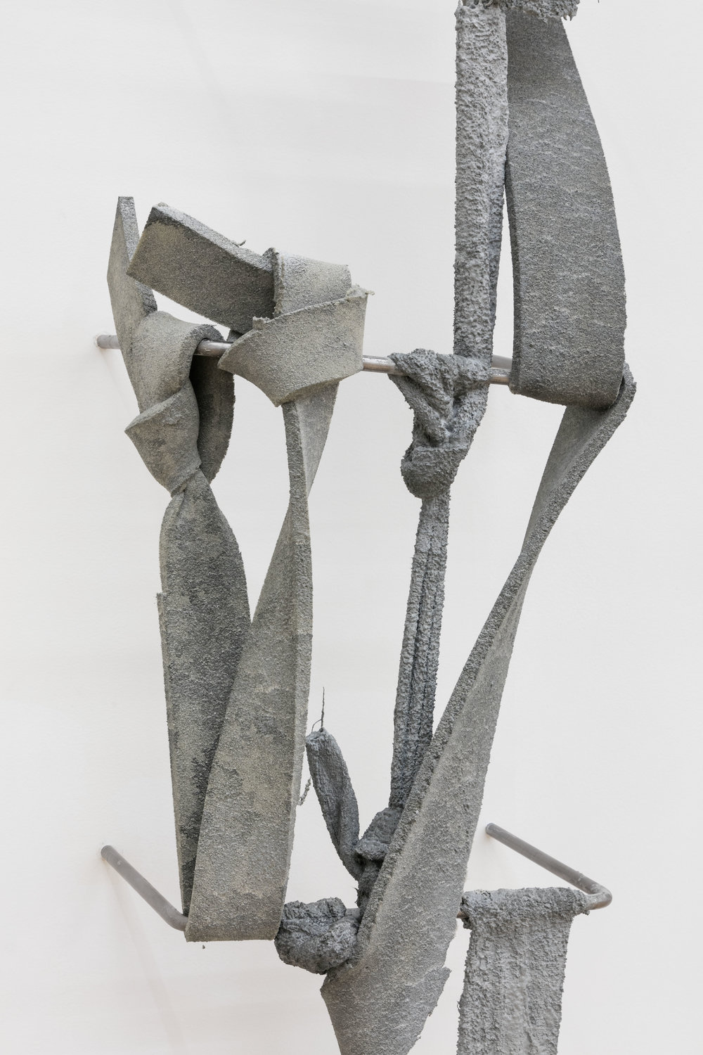 Nikita Gale,  FIXED LOOP IV  (detail), 2018, concrete, polyurethane foam, terrycloth, steel, 115 × 18 × 13 in.