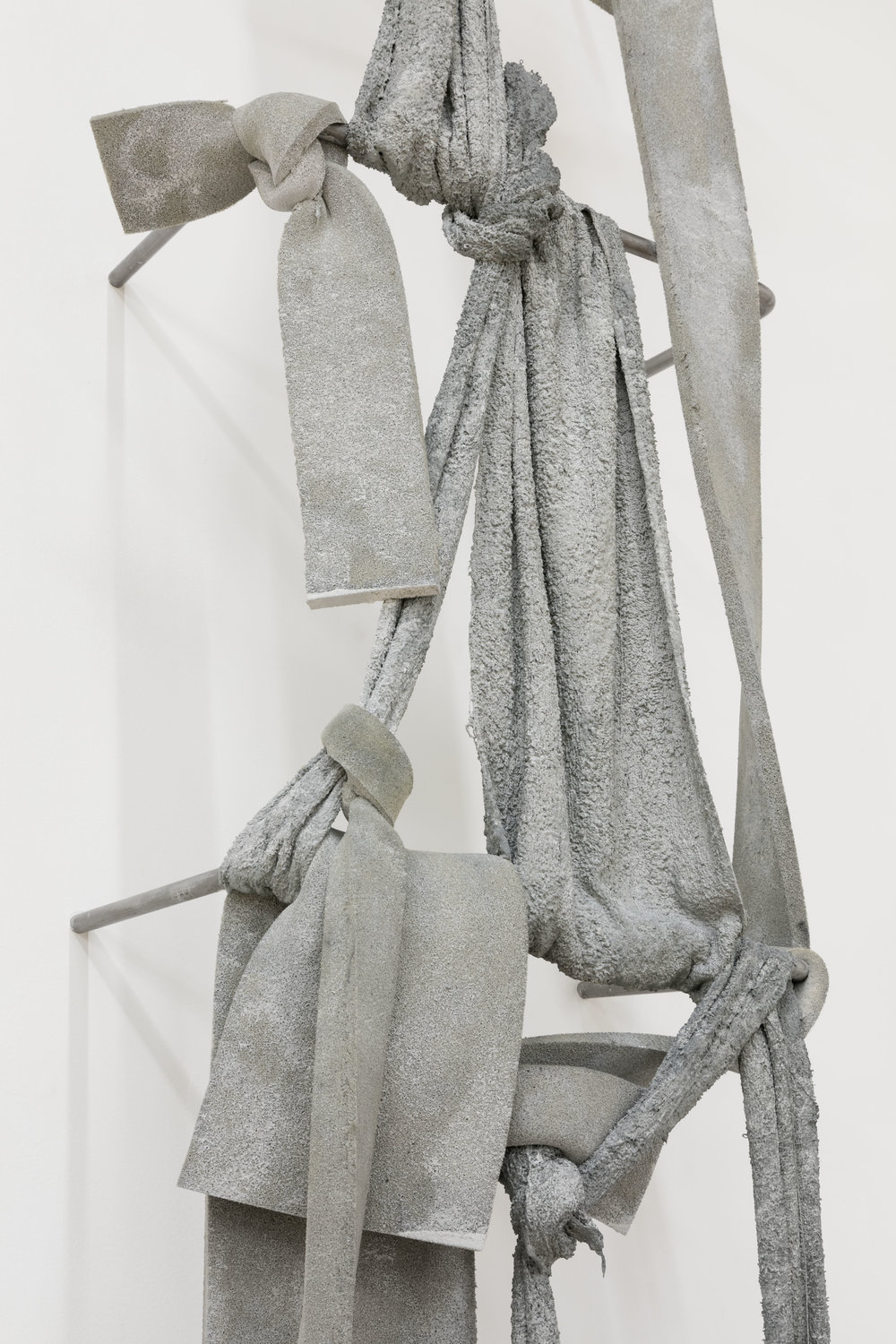 Nikita Gale,  FIXED LOOP I  (detail), 2018, concrete, polyurethane foam, terrycloth, steel, 115 × 21 3/4 × 13 1/4 in.