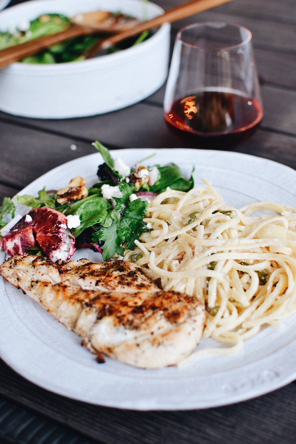 Jordan grilled chicken breasts with montreal chicken seasoning, and it was the perfect addition to the pasta!