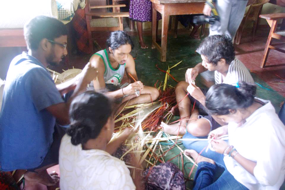 Field trip to a palmyrah weaving center in Jaffna, Northern Province, Sri Lanka. 2014.