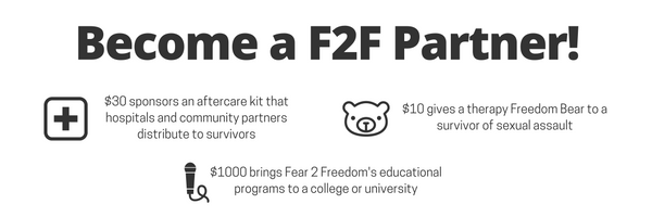 Your gift to Fear 2 Freedom can help make a difference in the life of a survivor