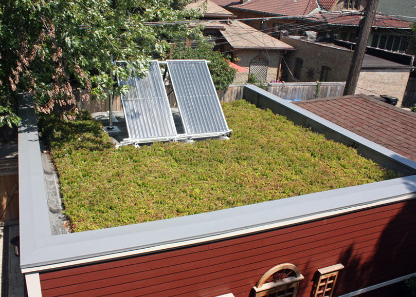 Garage Green Roof & Solar Thermal Panels