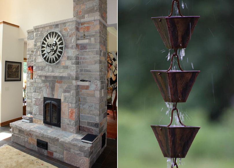 Fireplace | Rain chain Detail