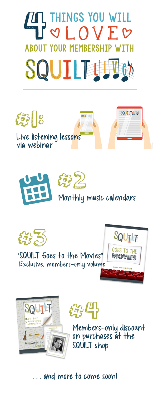 SQUILT LIVE! Music Appreciation Monthly Lesson Membership for Children