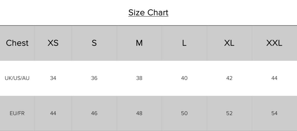 size chart t-shirt