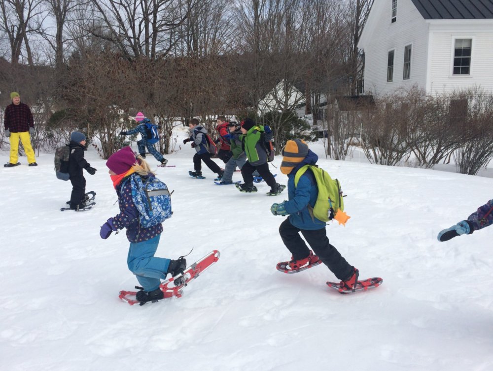 "Brave Bears Winter Adventure - Brave Bears try out their snowshoes during our winter break camp for ages 6-9. This one-day adventure also included some time inside; special guest and author Charles Norris-Brown, PhD., read his book ""Did Tiger Take the Rain?""."