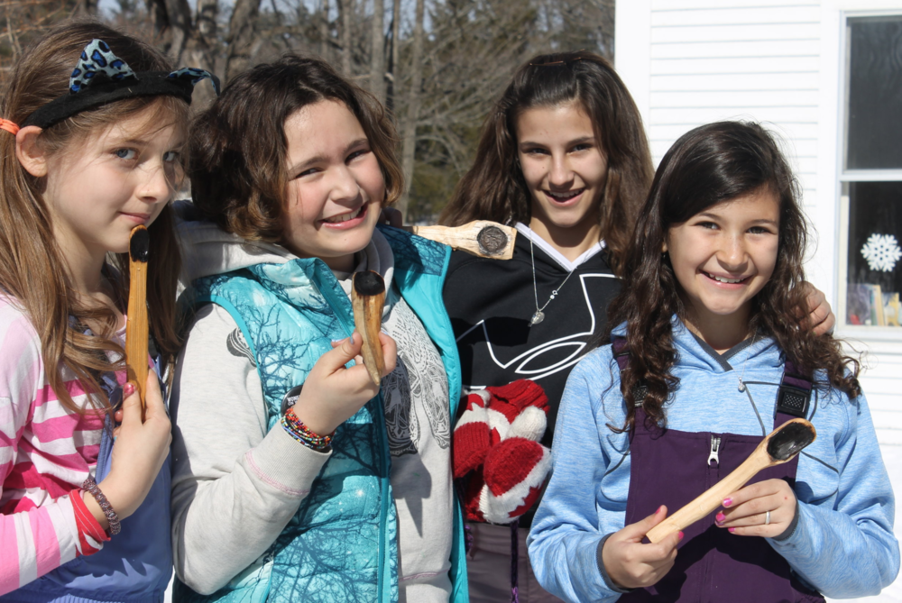 Wild Walkers - In February, in partnership with the Vermont Wilderness School, we offered a one-day, full day program for ages 10-14 on how to coal-burn - a method used for making spoons, bowls and even canoes which dates back to the First People.