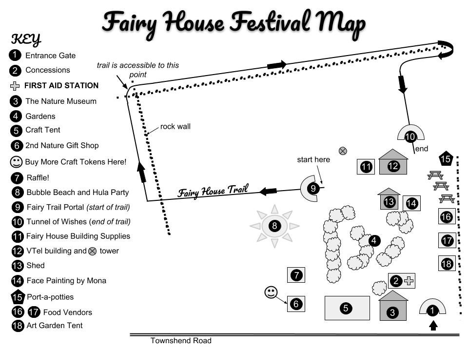 Click the map above to see an enlarged view of the Fairy Fest grounds