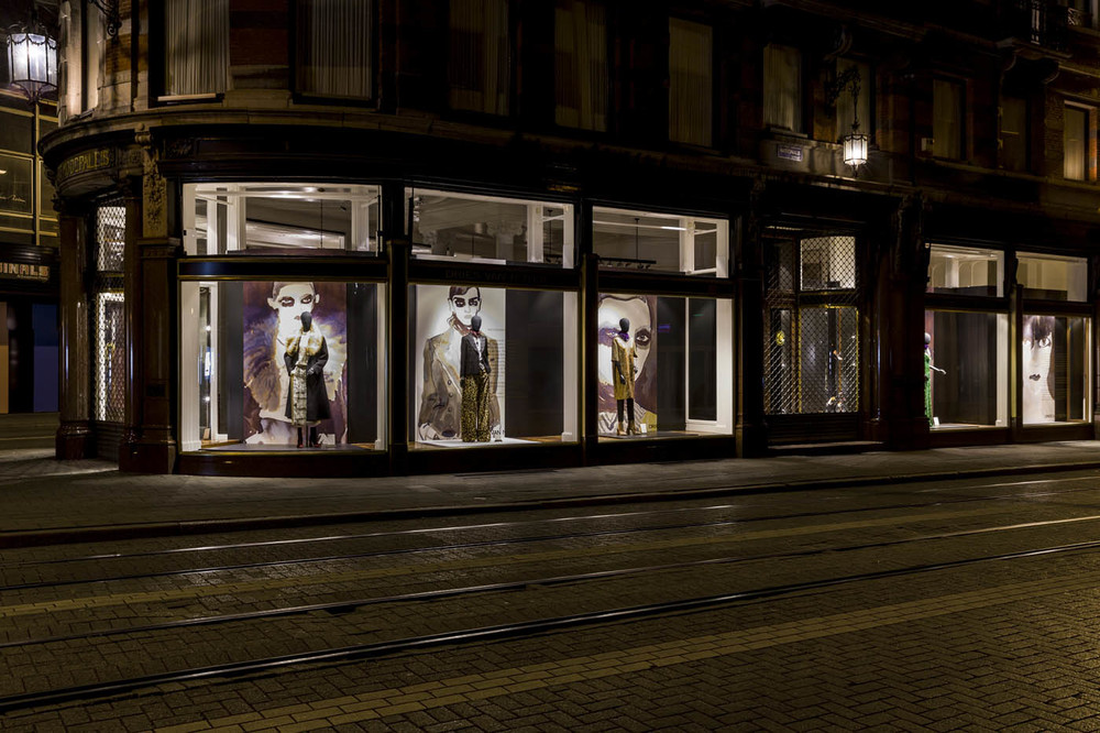 Gill's paintings of Dries Van Noten's AW collection are currently displayed in windows worldwide. Photograph by Kurt De Wit of Dries' flagship Antwerp store Het Modepaleis.