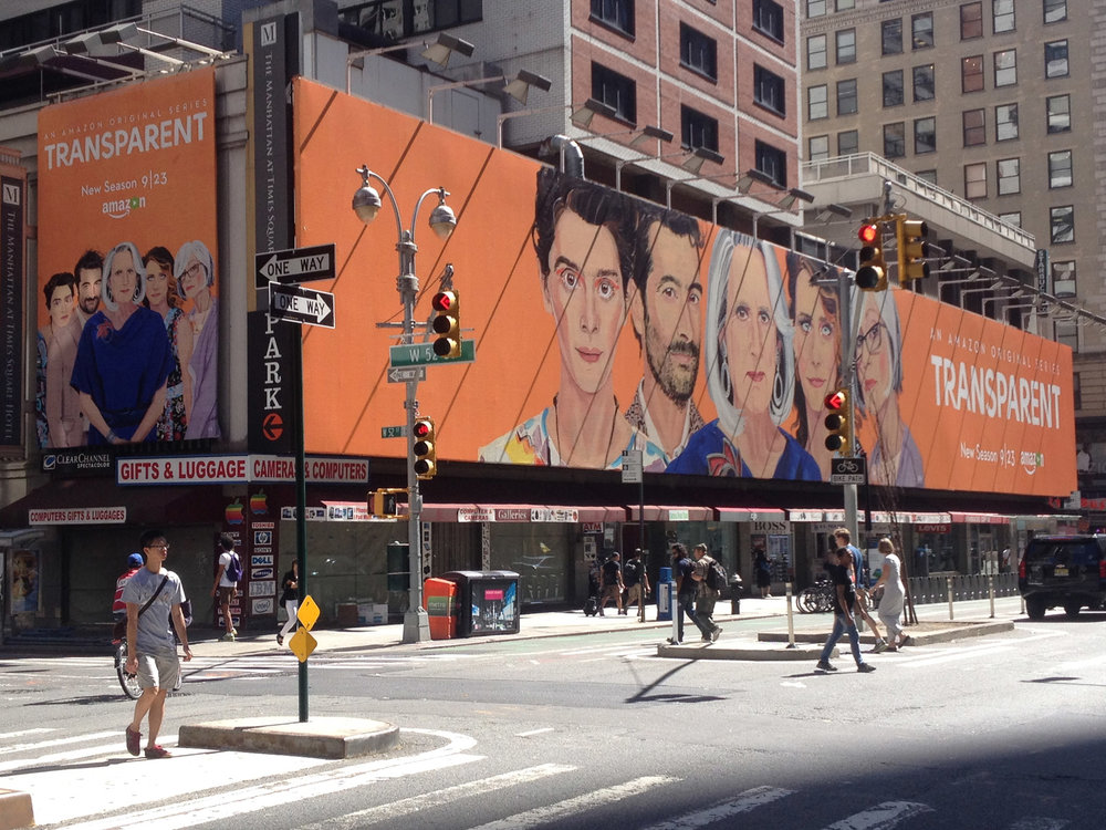 Gill's paintings for season 3 of the golden globe winning, hit Amazon series Transparent - seen here on Broadway, NYC. Watch paintings of the characters appear in the official trailer for the show: