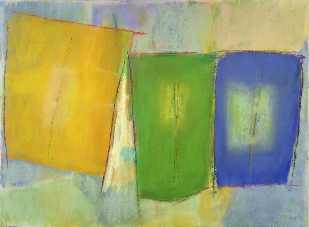 """""""Prayer Flag"""", pastel, 40"""" x 30"""",  $1,295 (framed)"""