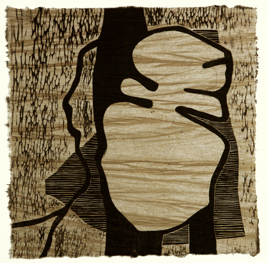 "Tiramisu, woodcut, 16 x 16"", $400"