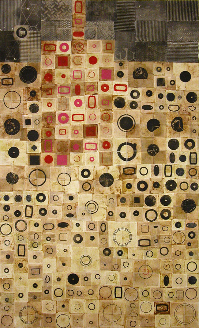 "Not Only Circles, relief print on used teabags, 60 x 36"", $3000"
