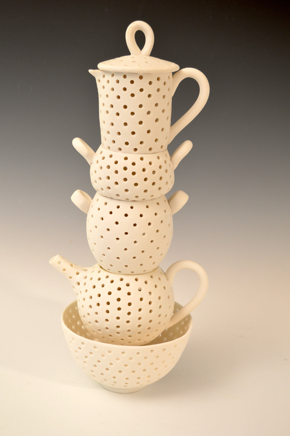 "Stacked Tea Time, porcelain, 16"" x 7"", $1200"
