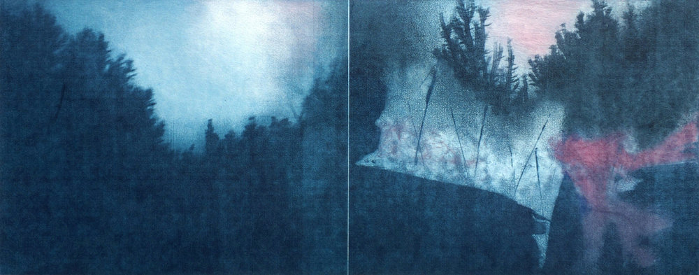"Into The Mist, monoprint, 14"" x 26"", $900"