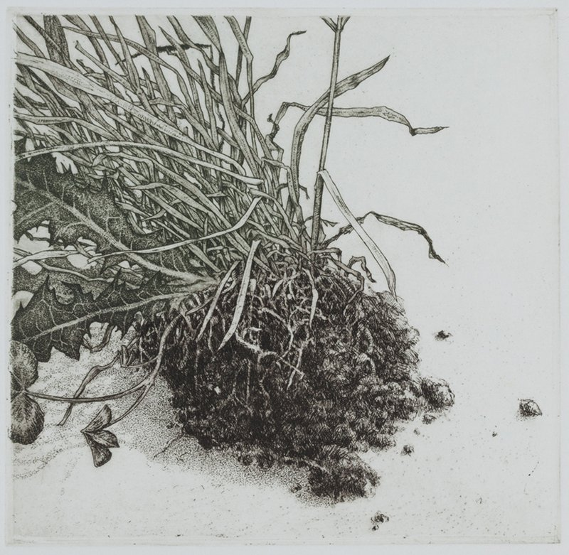 "'Weeding', 13""x12"", $135 framed, $85 unframed"