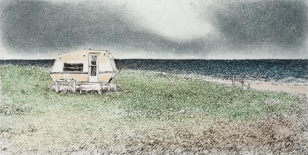 "'Seaside Camper', 10""x10"", $130 framed, $75 unframed"