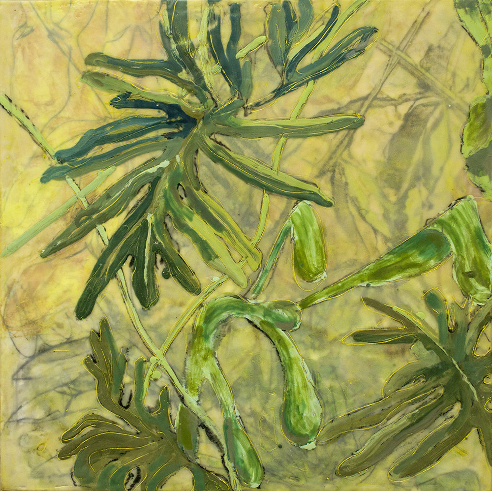 "Spring Green Again, monotype & mixed media, 24"" x 24"", $2200"