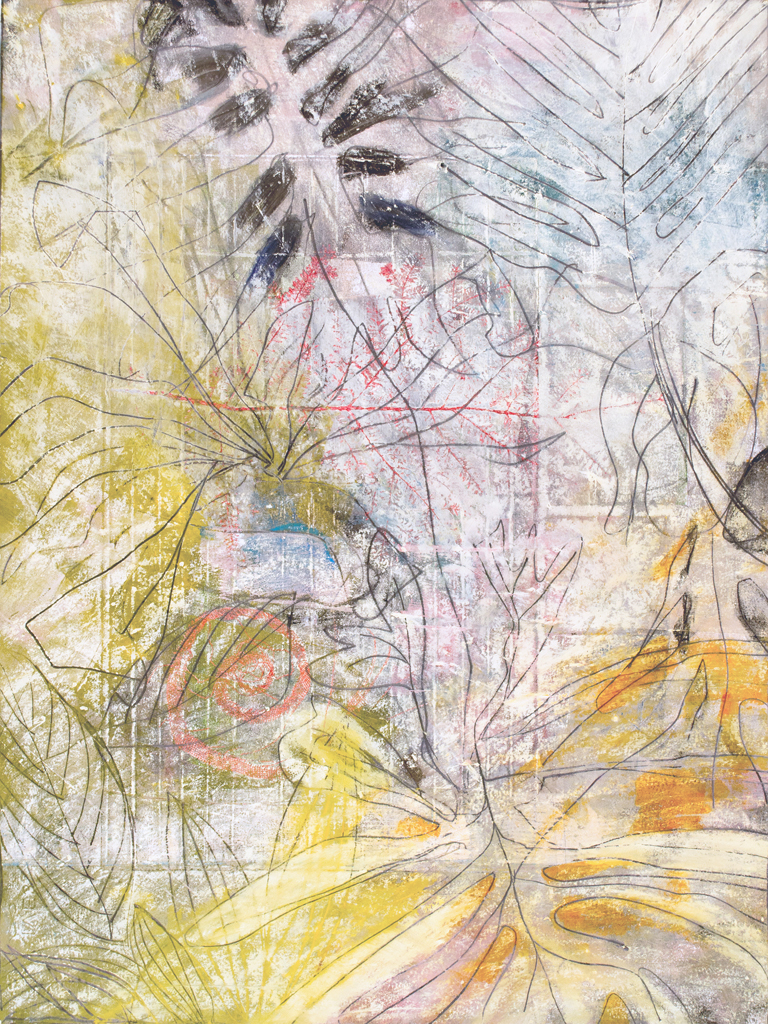 "The Singing Tree I, monotype & mixed media, 29"" x 21"", $2200"