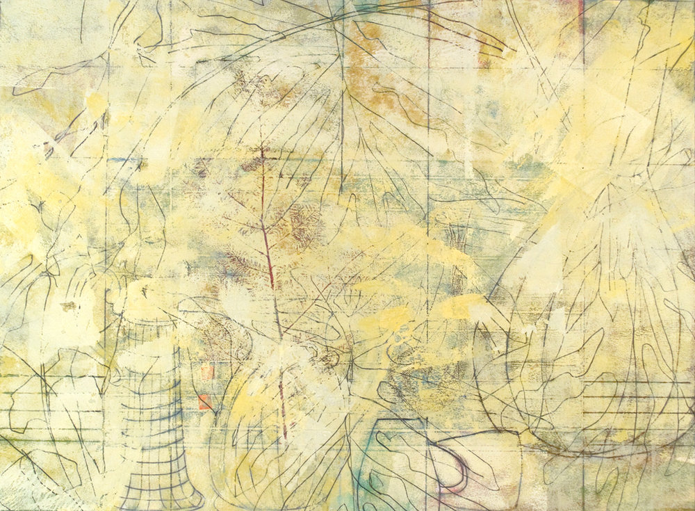 "The Singing Tree 11, monotype & mixed media, 21"" x 39"", $2200"