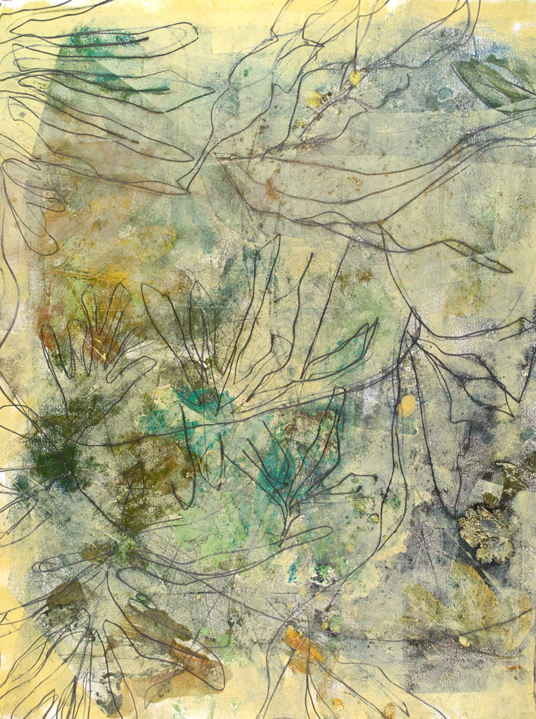 "Three Leaf II, monotype & mixed media, 29"" x 21"", $2200"