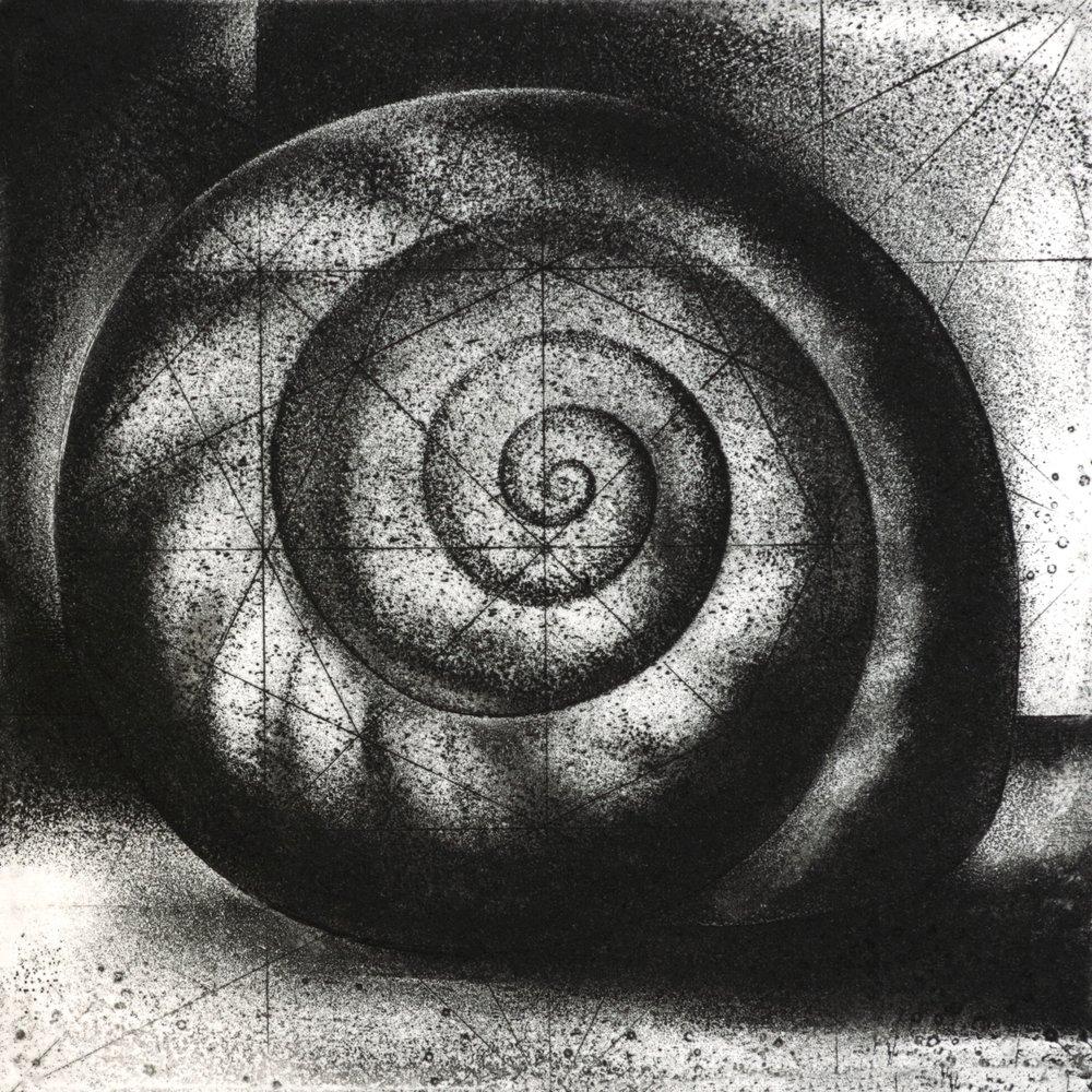"""Snail, etching, 5"""" x 5"""", $325"""