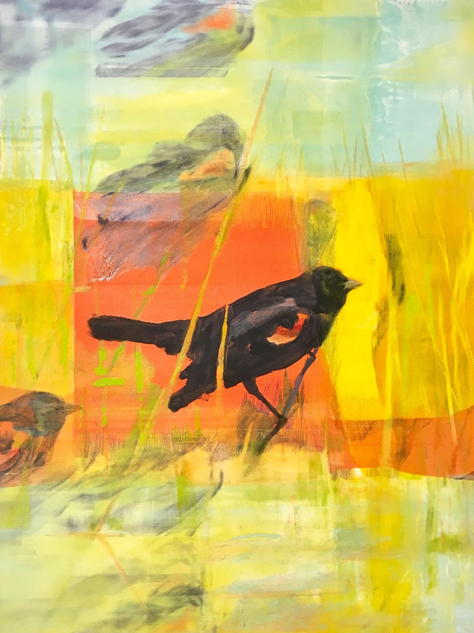 "'Blackbirds On Bowers Brook I', monotype, 12"" x 16"", $475"
