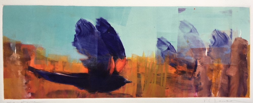 "'In Flight III', monotype, 22"" x 13"", $535"