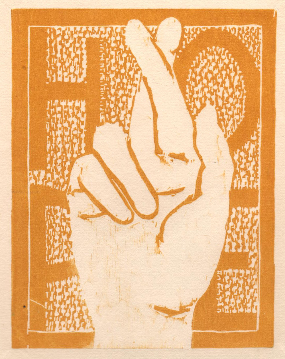 "'Helping Hands, Hope', woodcut, 6.5"" x 5"", $80 unframed"