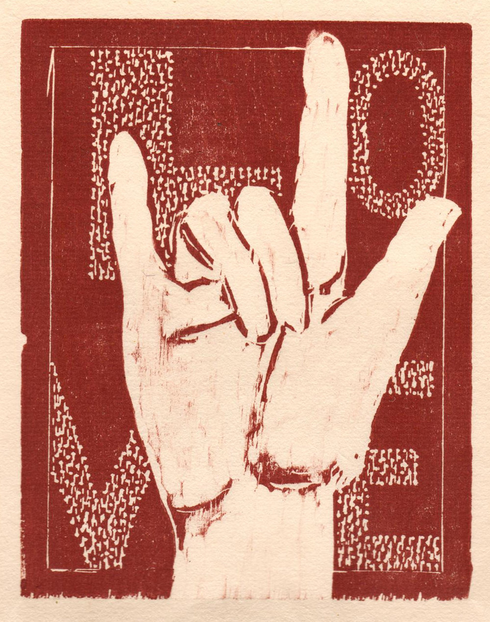 "'Helping Hands, Love', woodcut, 6.5"" x 5"", $80 unframed"