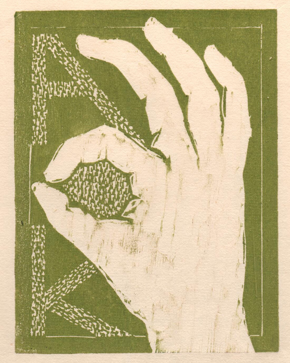 "'Helping Hands, AOK', woodcut, 6.5"" x 5"", $80 unframed"