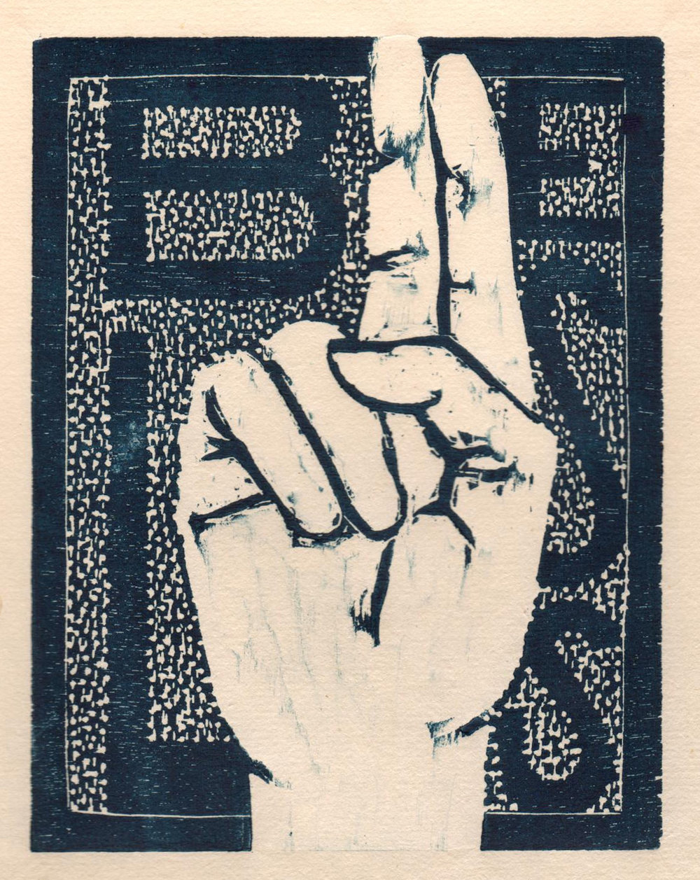 "'Helping Hands, Bless', woodcut, 6.5"" x 5"", $80 unframed"