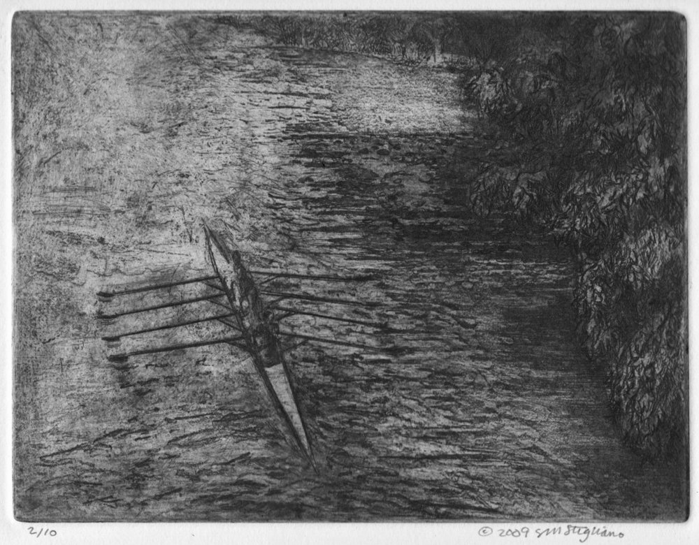 "'Quad On The Charles', etching, 14.5"" x 17"", $200"