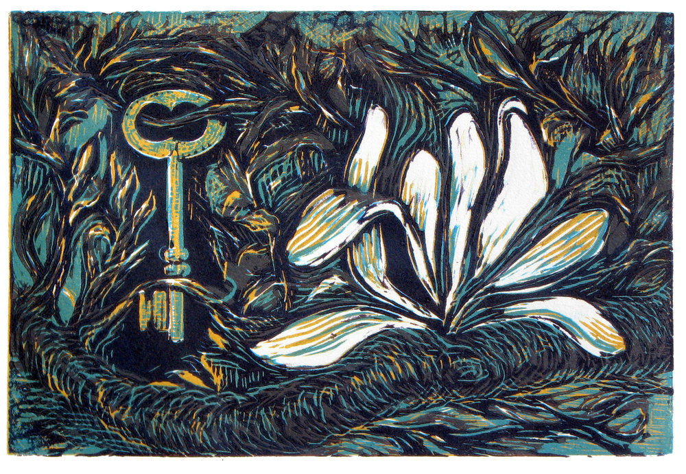 "'Magnolia & Key', reduction linocut, 13"" x 16"", $300"