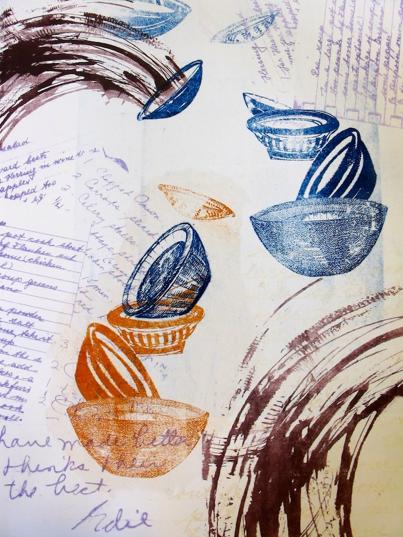 """Dancing Bowls"", Pronto Plate Litho, 15"" x 11"", $250"