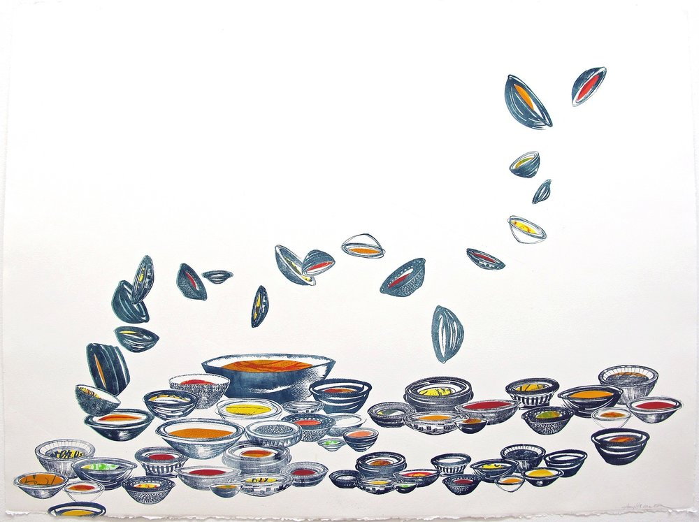 """Dancing Bowls"", Pronto plate litho collage, 22"" x 30"", $950"