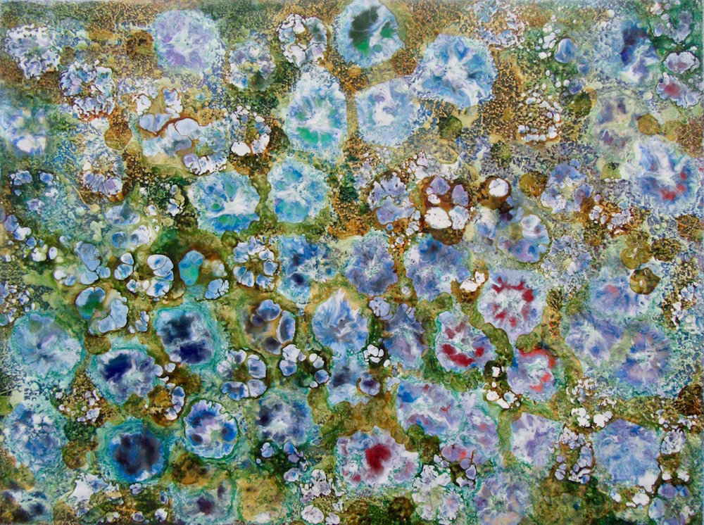 "Blue Garden, encaustic, 18"" x 24"", $750"