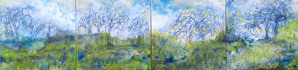 """English Spring Garden"" series, encaustic, each 12"" x 12""' each $300 (Two sold, two available)"
