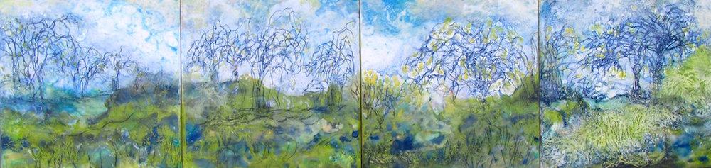 """English Spring Garden"" series, encaustic, each 12"" x 12""' each $300"