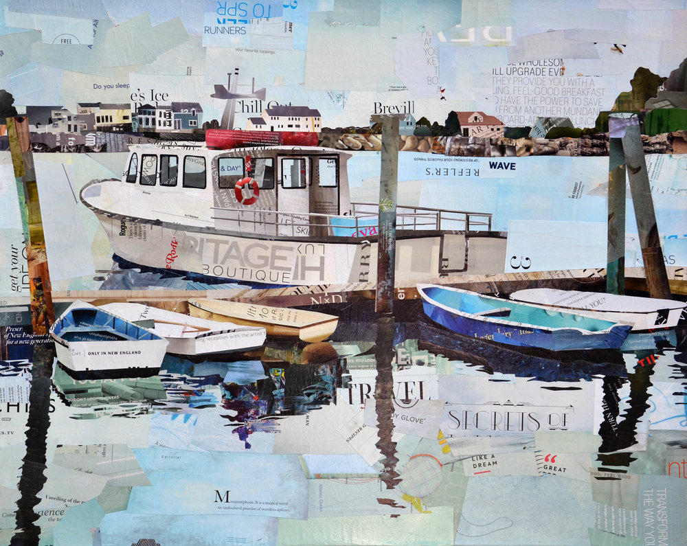 """New England Boating"", collage, 24 x 30"", $1,200"