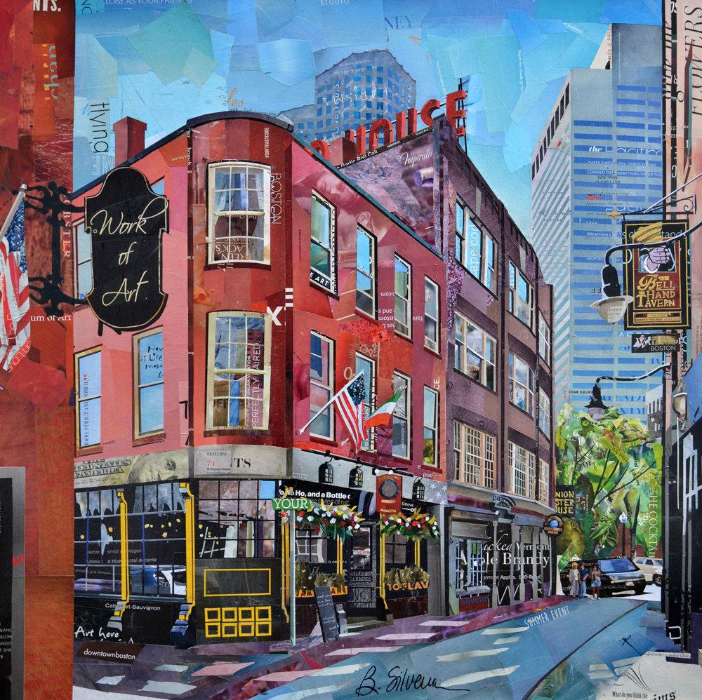 """Oldest Tavern"", collage, 30 x 30"", SOLD"
