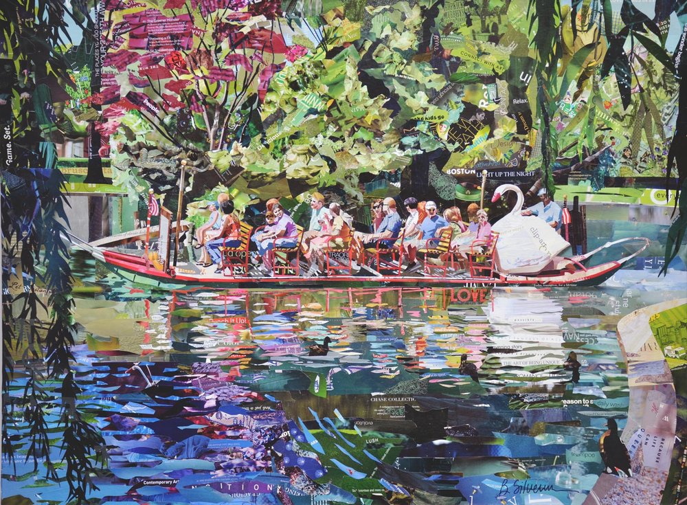 """Swan Boat Love"", collage, 30 x 40"", $2,600"