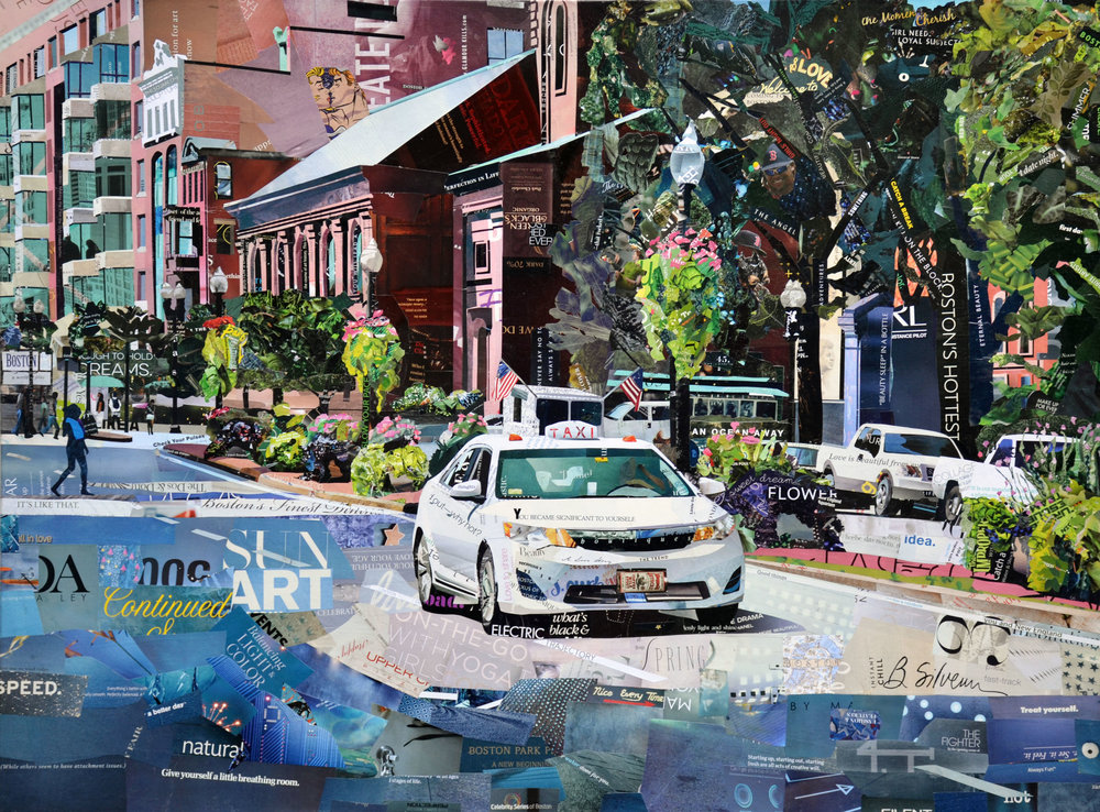 """White Taxi"", collage, 30 x 40"", $2,600"