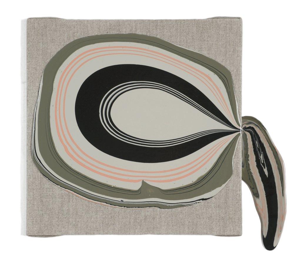 """Amerika"" inspired by Edward Gorey, acrylic medium on linen, 11 x 13 x 3"", $475"
